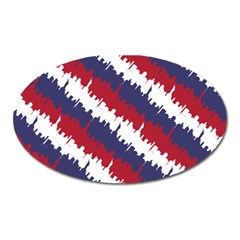 Ny Usa Candy Cane Skyline In Red White & Blue Oval Magnet by PodArtist