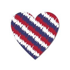 Ny Usa Candy Cane Skyline In Red White & Blue Heart Magnet by PodArtist