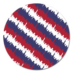 Ny Usa Candy Cane Skyline In Red White & Blue Magnet 5  (round) by PodArtist