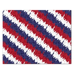 Ny Usa Candy Cane Skyline In Red White & Blue Rectangular Jigsaw Puzzl by PodArtist