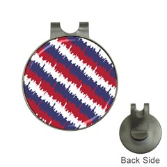 Ny Usa Candy Cane Skyline In Red White & Blue Hat Clips With Golf Markers by PodArtist