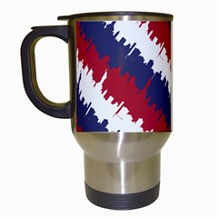 Ny Usa Candy Cane Skyline In Red White & Blue Travel Mugs (white) by PodArtist