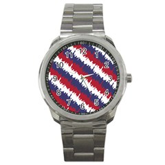 Ny Usa Candy Cane Skyline In Red White & Blue Sport Metal Watch by PodArtist