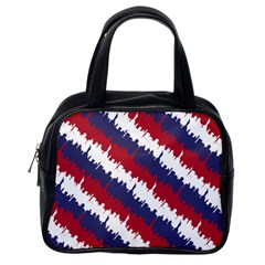 Ny Usa Candy Cane Skyline In Red White & Blue Classic Handbags (one Side) by PodArtist