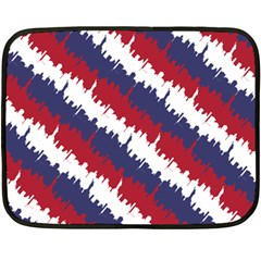 Ny Usa Candy Cane Skyline In Red White & Blue Double Sided Fleece Blanket (mini)  by PodArtist