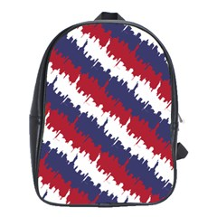Ny Usa Candy Cane Skyline In Red White & Blue School Bag (large) by PodArtist