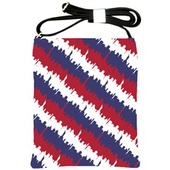 Ny Usa Candy Cane Skyline In Red White & Blue Shoulder Sling Bags by PodArtist