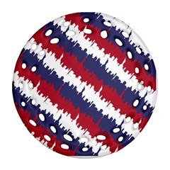 Ny Usa Candy Cane Skyline In Red White & Blue Round Filigree Ornament (two Sides) by PodArtist