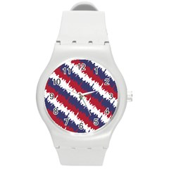 Ny Usa Candy Cane Skyline In Red White & Blue Round Plastic Sport Watch (m) by PodArtist