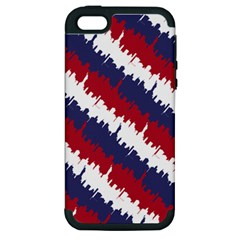 Ny Usa Candy Cane Skyline In Red White & Blue Apple Iphone 5 Hardshell Case (pc+silicone) by PodArtist