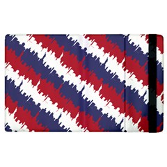 Ny Usa Candy Cane Skyline In Red White & Blue Apple Ipad 2 Flip Case by PodArtist