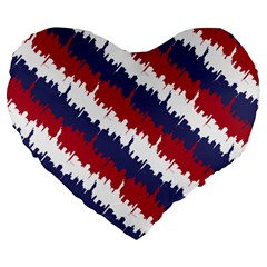 Ny Usa Candy Cane Skyline In Red White & Blue Large 19  Premium Heart Shape Cushions by PodArtist