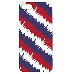 Ny Usa Candy Cane Skyline In Red White & Blue Apple Iphone 5 Hardshell Case With Stand by PodArtist