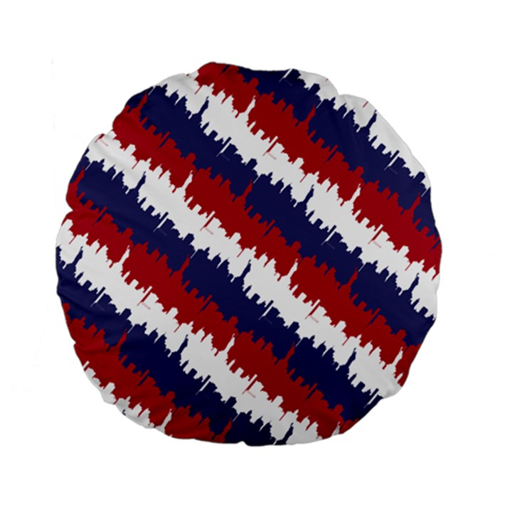 NY USA Candy Cane Skyline in Red White & Blue Standard 15  Premium Flano Round Cushions
