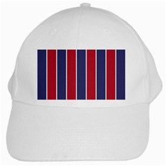 Large Red White And Blue Usa Memorial Day Holiday Vertical Cabana Stripes White Cap by PodArtist
