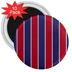 Large Red White And Blue Usa Memorial Day Holiday Vertical Cabana Stripes 3  Magnets (10 Pack)  by PodArtist