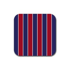 Large Red White And Blue Usa Memorial Day Holiday Vertical Cabana Stripes Rubber Coaster (square)  by PodArtist