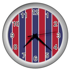 Large Red White And Blue Usa Memorial Day Holiday Vertical Cabana Stripes Wall Clocks (silver)  by PodArtist