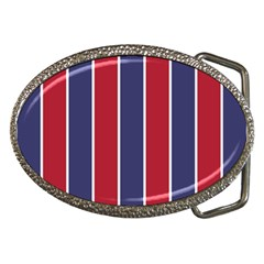 Large Red White And Blue Usa Memorial Day Holiday Vertical Cabana Stripes Belt Buckles by PodArtist