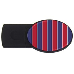 Large Red White And Blue Usa Memorial Day Holiday Vertical Cabana Stripes Usb Flash Drive Oval (2 Gb) by PodArtist