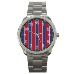 Large Red White And Blue Usa Memorial Day Holiday Vertical Cabana Stripes Sport Metal Watch by PodArtist