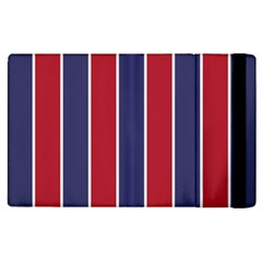 Large Red White And Blue Usa Memorial Day Holiday Vertical Cabana Stripes Apple Ipad 2 Flip Case by PodArtist