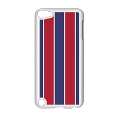 Large Red White And Blue Usa Memorial Day Holiday Vertical Cabana Stripes Apple Ipod Touch 5 Case (white) by PodArtist