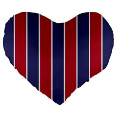 Large Red White And Blue Usa Memorial Day Holiday Vertical Cabana Stripes Large 19  Premium Flano Heart Shape Cushions by PodArtist