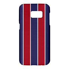 Large Red White And Blue Usa Memorial Day Holiday Vertical Cabana Stripes Samsung Galaxy S7 Hardshell Case