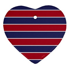 Large Red White And Blue Usa Memorial Day Holiday Horizontal Cabana Stripes Ornament (heart) by PodArtist