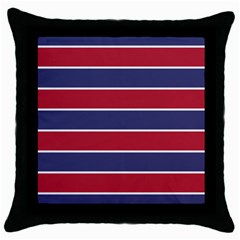 Large Red White And Blue Usa Memorial Day Holiday Horizontal Cabana Stripes Throw Pillow Case (black) by PodArtist