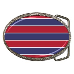 Large Red White And Blue Usa Memorial Day Holiday Horizontal Cabana Stripes Belt Buckles by PodArtist