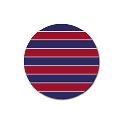 Large Red White And Blue Usa Memorial Day Holiday Horizontal Cabana Stripes Rubber Round Coaster (4 Pack)  by PodArtist