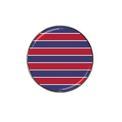 Large Red White And Blue Usa Memorial Day Holiday Horizontal Cabana Stripes Hat Clip Ball Marker (10 Pack) by PodArtist