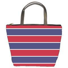 Large Red White And Blue Usa Memorial Day Holiday Horizontal Cabana Stripes Bucket Bags by PodArtist