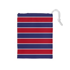 Large Red White And Blue Usa Memorial Day Holiday Horizontal Cabana Stripes Drawstring Pouches (medium)  by PodArtist