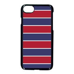 Large Red White And Blue Usa Memorial Day Holiday Horizontal Cabana Stripes Apple Iphone 8 Seamless Case (black)