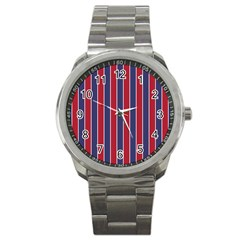 Large Red White And Blue Usa Memorial Day Holiday Pinstripe Sport Metal Watch by PodArtist