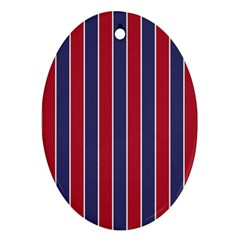 Large Red White And Blue Usa Memorial Day Holiday Pinstripe Oval Ornament (two Sides) by PodArtist