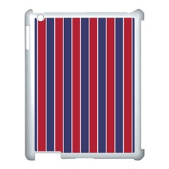 Large Red White And Blue Usa Memorial Day Holiday Pinstripe Apple Ipad 3/4 Case (white) by PodArtist