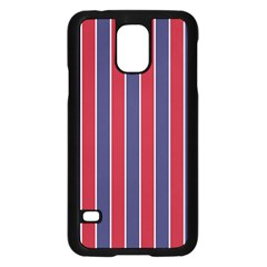 Large Red White And Blue Usa Memorial Day Holiday Pinstripe Samsung Galaxy S5 Case (black) by PodArtist