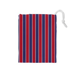 Large Red White And Blue Usa Memorial Day Holiday Pinstripe Drawstring Pouches (medium)  by PodArtist