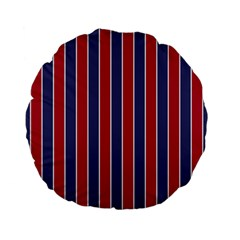 Large Red White And Blue Usa Memorial Day Holiday Pinstripe Standard 15  Premium Flano Round Cushions by PodArtist