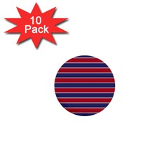Large Red White And Blue Usa Memorial Day Holiday Pinstripe 1  Mini Buttons (10 Pack)  by PodArtist