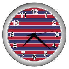 Large Red White And Blue Usa Memorial Day Holiday Pinstripe Wall Clocks (silver)  by PodArtist