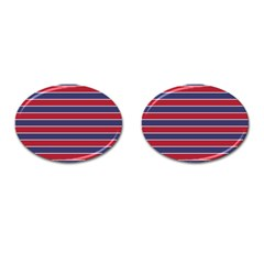 Large Red White And Blue Usa Memorial Day Holiday Pinstripe Cufflinks (oval) by PodArtist