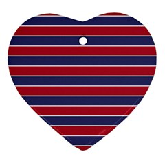 Large Red White And Blue Usa Memorial Day Holiday Pinstripe Heart Ornament (two Sides) by PodArtist
