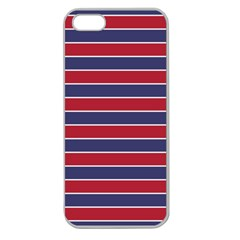 Large Red White And Blue Usa Memorial Day Holiday Pinstripe Apple Seamless Iphone 5 Case (clear) by PodArtist