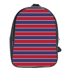Large Red White And Blue Usa Memorial Day Holiday Pinstripe School Bag (xl) by PodArtist