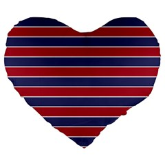 Large Red White And Blue Usa Memorial Day Holiday Pinstripe Large 19  Premium Heart Shape Cushions by PodArtist